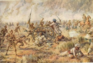 Historical painting of Gurkhas in Battle