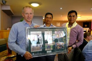 Outgoing Queen's Gurkha Orderley Officers presenting a memento to Headquarters Brigade of Gurkhas.
