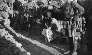 Men of 2nd 11GR guarding a Pathan prisoner. Note 1914 pattern leather accoutrements.