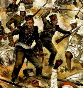 The Sirmoor Rifles in action during the Indian Mutiny.