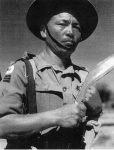 A Gurkha Soldier with his Kukri
