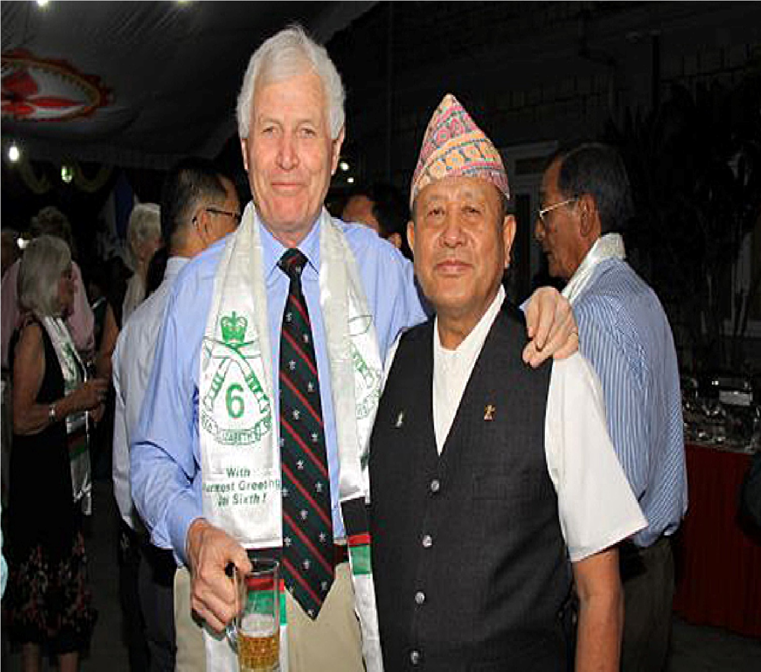 Lt Col Paul Pettigrew (Chairman 6GR) and Maj Gyan Bahadur Gurung (Chairman Nepal Branch) at Gurkha Haven Hotel