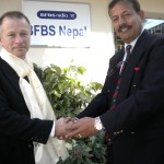 Col BG being welcomed by BFBS Nepal Station Manager Binoddhoj Khadka
