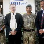 L-R WO1(RSM) Babindra Gurung, Col BG, Maj Manoj Mohora & Mr Binoddhoj Khadka