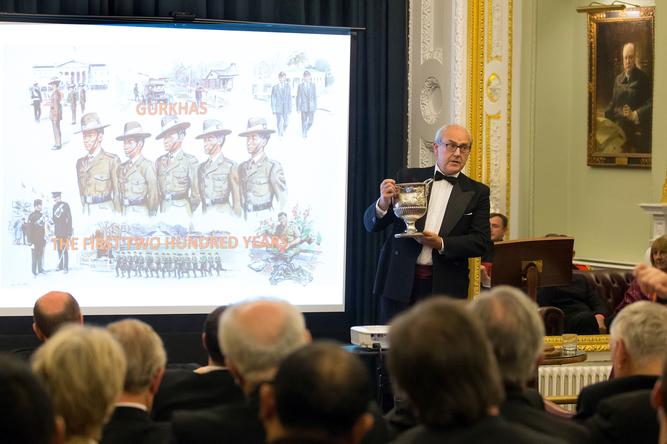 Director of the Gurkha Museum, Gavin Edgerly-Harris, showing the Makwanpur wine cooler, an item which connects the forbears, and by proxy the serving Brigade of Gurkhas, with the East India Company.