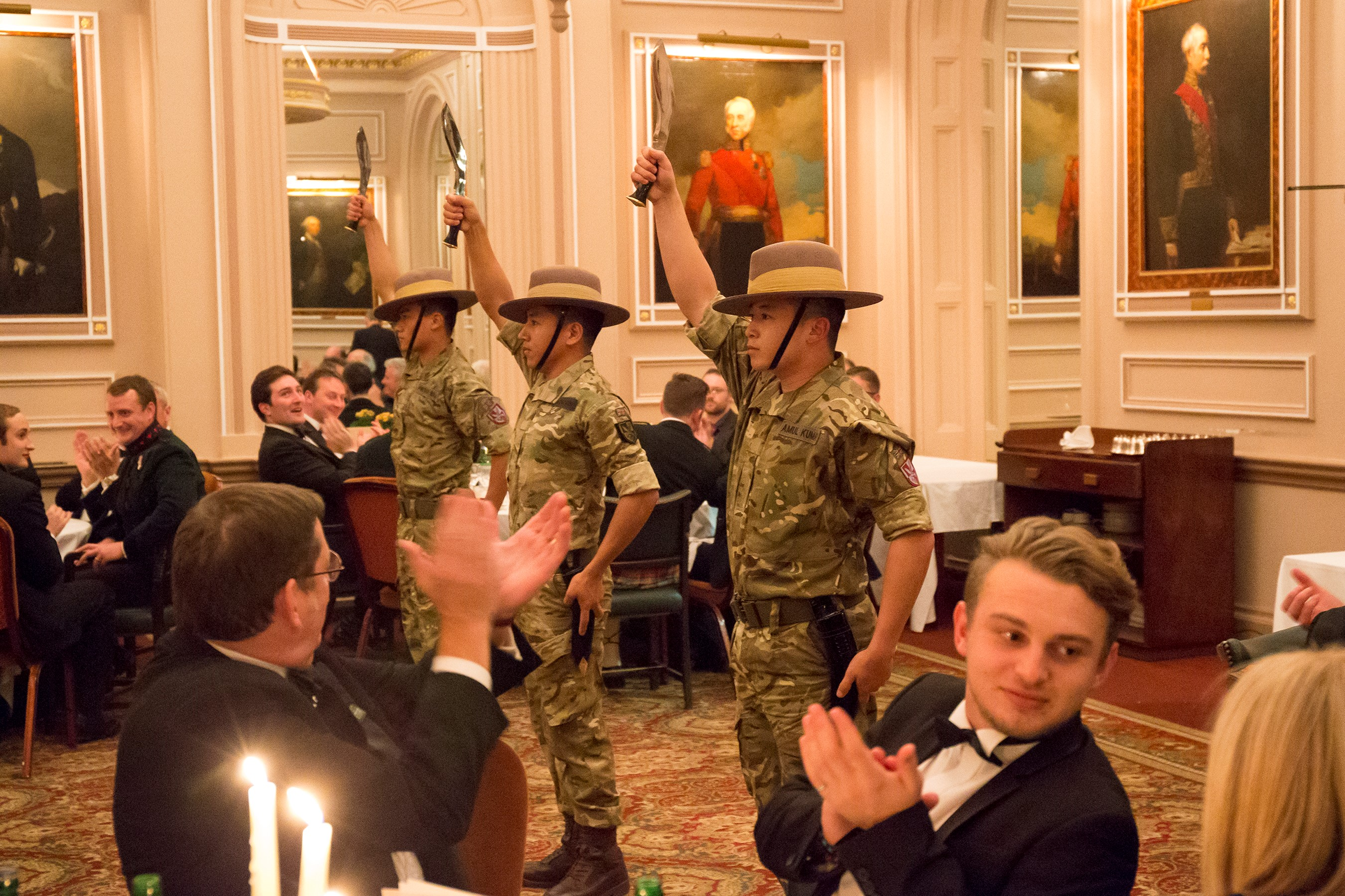 The Band of the Brigade of Gurkhas performed the Kukuri dance during the dinner