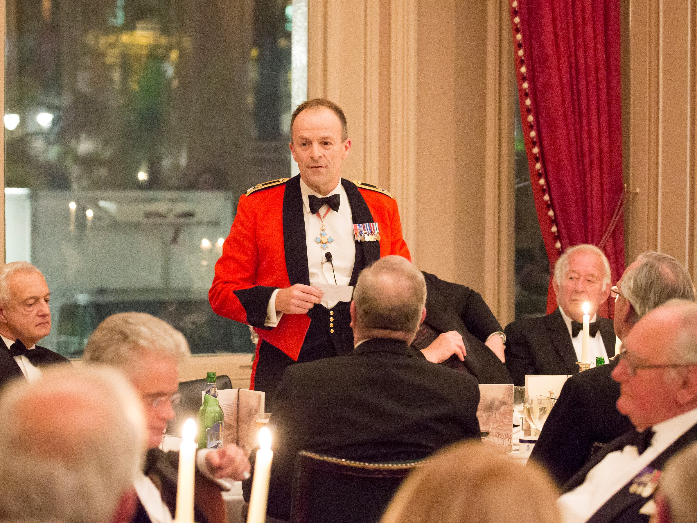Major General Craig Lawrence CBE addressing members of the East India Club