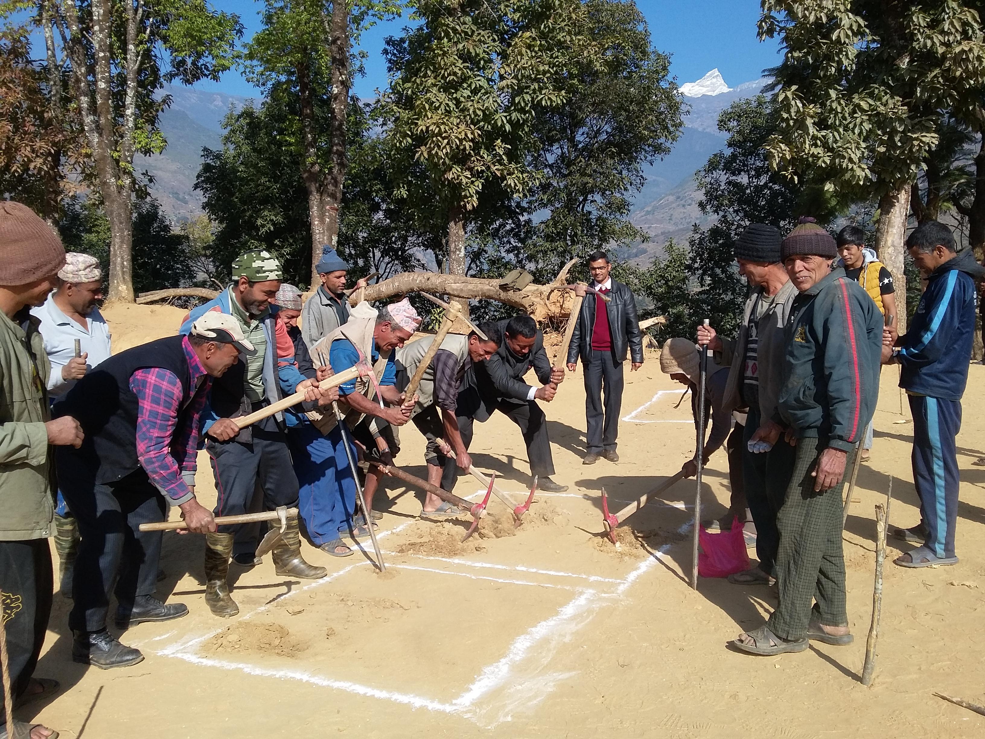 Locals begin digging at Gyan Jyoti Higher Secondary School