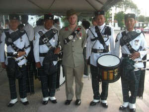Col James Robinson and members of 1RGR Pipes & Drums