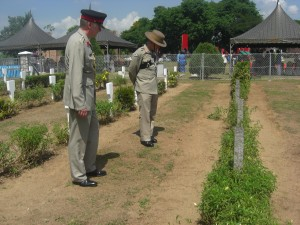 British Defence Attaché, Col Stephen Hall and Col James Robinson at the cemetery