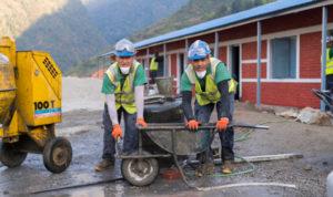 Gurkhas working on the rebuild