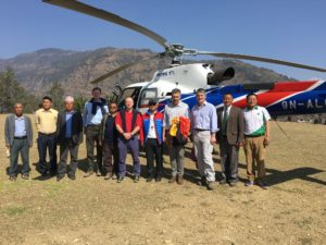 On a Helicopter tour to Gurkha Welfare Scheme (GWS) Sites