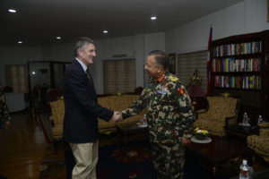 General Pope visiting Chief of the Nepal Army Staff, Lieutenant General Rajendra Chettri