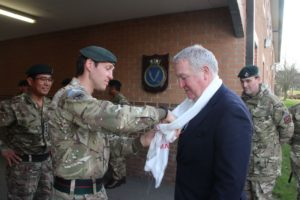Minister Armed Forces being welcomed by Officer Commanding Gurkha Company (Catterick)