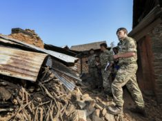 Image shows:  The Gurkhas get to see first hand the destruction left behind in the village of Sahugaun on the 05 May 2105  after the Earthquake hit Nepal