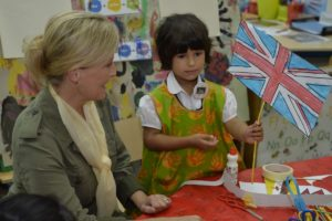 Image shows Her Royal Highness Sophie, The Countess of Wessex looking at a Union Flag made by a pupil at Hornbill School during a visit there to meet teachers and pupils of the garrison school. His Royal Highness Prince Edward, The Earl of Wessex, and Her Royal Highness Sophie, The Countess of Wessex, today visited British Forces Brunei (BFB). Their Royal Highnesses were in Brunei representing Her Majesty Queen Elizabeth II at His Majesty the Sultan of Brunei's Golden Jubilee Celebrations. While there, they took the opportunity to pay a visit to the UK's only permanent military post in the Far East. Their Royal Highnesses were flown into a rain-sodden jungle by helicopter. After donning standard army attire, they set foot in the dense undergrowth, guided by soldiers from 2nd Battalion The Royal Gurkha Rifles (RGR), with birds shrieking as the humidity hit 75 per cent. The Earl and Countess were first shown how the Gurkha troops track enemy combatants in the jungle through a combination of footprints and other tell-tale signs such as disturbed leaves and broken twigs. Their Royal Highnesses then walked a narrow, rocky path before seeing how the Gurkhas trap wild animals and birds for survival in the jungle and learning how the Nepalese soldiers build shelters, find and filter water as well as fuel for fire. The Royal jungle tour finished with a cooking demonstration by the Gurkhas. Prince Edward and Sophie sampled fruit plucked from nearby trees and talked to Nepalese soldiers about their experiences serving Queen and country. These include eight tours of Afghanistan between 2003 and 2016 as well as other trouble-spots across the world such as Sierra Leone, Bosnia, Kosovo and East Timor. Before going into the jungle, the Earl and Countess of Wessex visited Hornbill School, attended by 350 children of BFB military personnel, where they played with pupils in a classroom and unveiled a new playground. 06/10/2017.