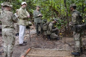 Image shows Their Royal Highnesses Prince Edward, The Earl of Wessex and Sophie, The Countess of Wessex as Sergeant Arjun (right), 2nd Battalion, The Royal Gurkha Rifles explains the principles of tracking in the jungle at Sungai Liang Training Area. His Royal Highness Prince Edward, The Earl of Wessex, and Her Royal Highness Sophie, The Countess of Wessex, today visited British Forces Brunei (BFB). Their Royal Highnesses were in Brunei representing Her Majesty Queen Elizabeth II at His Majesty the Sultan of Brunei's Golden Jubilee Celebrations. While there, they took the opportunity to pay a visit to the UK's only permanent military post in the Far East. Their Royal Highnesses were flown into a rain-sodden jungle by helicopter. After donning standard army attire, they set foot in the dense undergrowth, guided by soldiers from 2nd Battalion The Royal Gurkha Rifles (RGR), with birds shrieking as the humidity hit 75 per cent. The Earl and Countess were first shown how the Gurkha troops track enemy combatants in the jungle through a combination of footprints and other tell-tale signs such as disturbed leaves and broken twigs. Their Royal Highnesses then walked a narrow, rocky path before seeing how the Gurkhas trap wild animals and birds for survival in the jungle and learning how the Nepalese soldiers build shelters, find and filter water as well as fuel for fire. The Royal jungle tour finished with a cooking demonstration by the Gurkhas. Prince Edward and Sophie sampled fruit plucked from nearby trees and talked to Nepalese soldiers about their experiences serving Queen and country. These include eight tours of Afghanistan between 2003 and 2016 as well as other trouble-spots across the world such as Sierra Leone, Bosnia, Kosovo and East Timor. 06/10/2017.