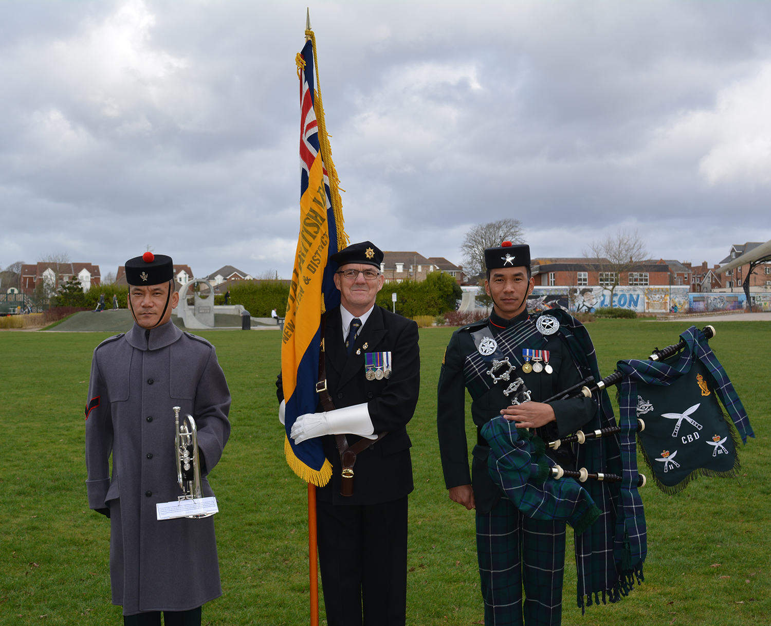British Legion member with Serving Gurkha Musicians