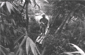 A Gurkha Soldier patrolling in the Borneo Jungle