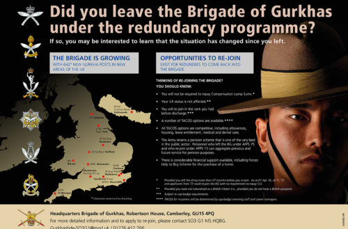 Did you leave the Brigade of Gurkhas?