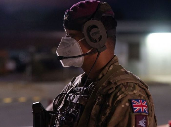 A soldier from The First Battalion The Royal Gurkha Rifles providing security in BECHTEL village. NATO evacuation Operation SOLACE